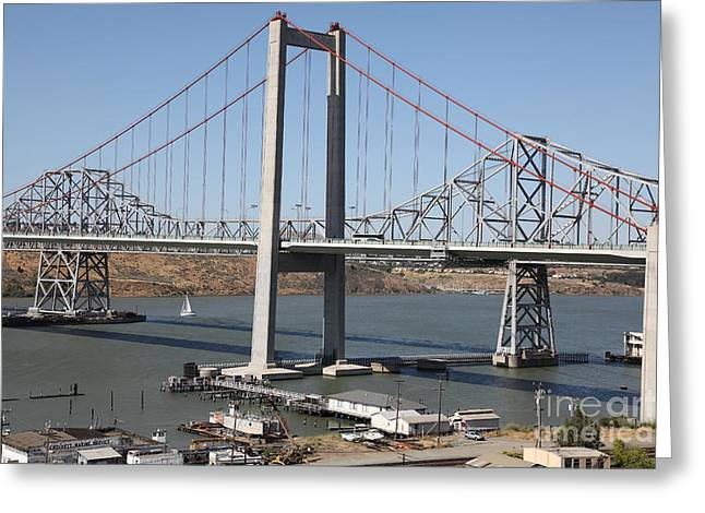 The New Alfred Zampa Memorial Bridge And The Old Carquinez Bridge . 5d16797 Greeting Card