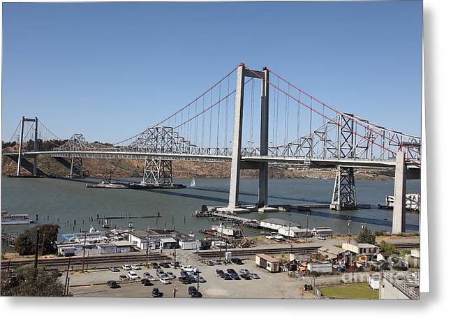 The New Alfred Zampa Memorial Bridge And The Old Carquinez Bridge . 5d16798 Greeting Card