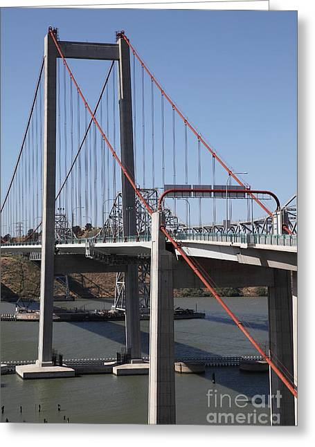 The New Alfred Zampa Memorial Bridge And The Old Carquinez Bridge . 5d16816 Greeting Card