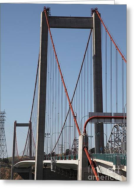 The New Alfred Zampa Memorial Bridge And The Old Carquinez Bridge . 5d16826 Greeting Card