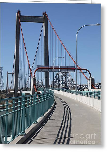 The New Alfred Zampa Memorial Bridge And The Old Carquinez Bridge . 5d16833 Greeting Card