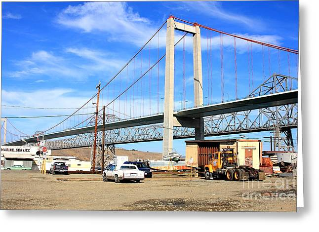 The New Alfred Zampa Memorial Bridge And The Old Carquinez Bridge Greeting Card by Wingsdomain Art and Photography