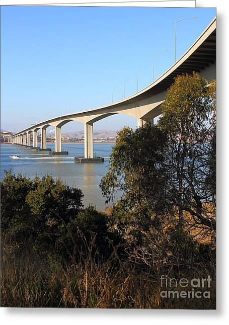 The New Benicia-martinez Bridge Across The Carquinez Strait In California . 7d10437 Greeting Card