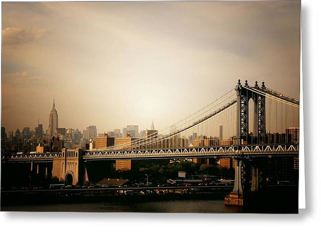 The New York City Skyline And Manhattan Bridge At Sunset Greeting Card by Vivienne Gucwa