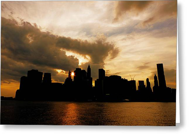 The New York City Skyline At Sunset Greeting Card by Vivienne Gucwa