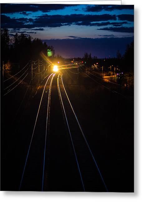 Greeting Card featuring the photograph The Night Train by Matti Ollikainen