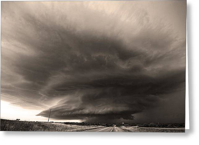 The Odell Supercell- Black And White Greeting Card by Chris Allington