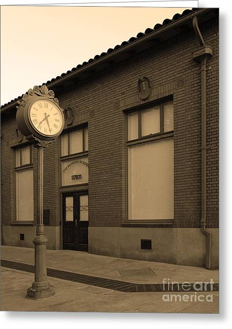 The Old Banker's Building - 5d18429 - Sepia Greeting Card by Wingsdomain Art and Photography
