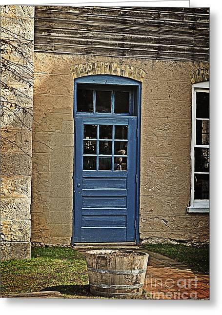 The Old Blue Door Greeting Card by Mary Machare
