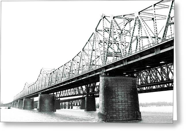 Greeting Card featuring the photograph The Old Bridges At Memphis by Lizi Beard-Ward