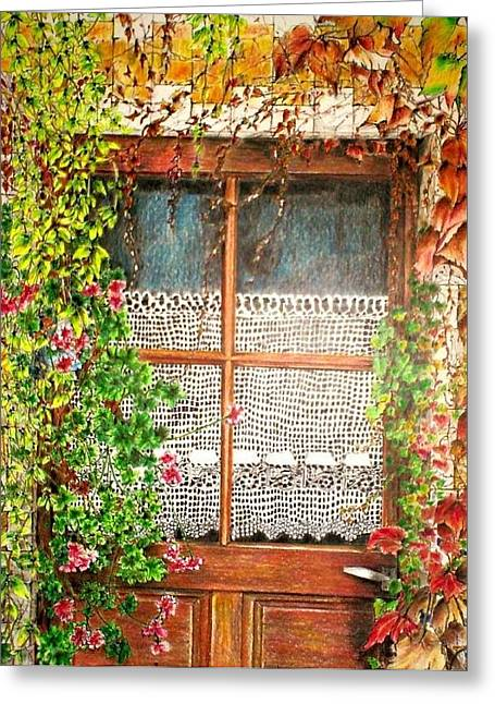 The Old Door Greeting Card by Jeanette Schumacher