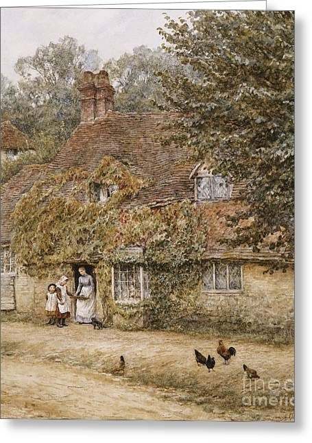The Old Fish Shop Haslemere Greeting Card by Helen Allingham