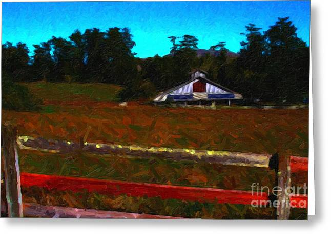 The Old Ranch At Dusk . Painterly Style Greeting Card by Wingsdomain Art and Photography
