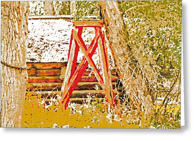 The Old Ranch Tower Greeting Card by Lenore Senior and Dawn Senior-Trask
