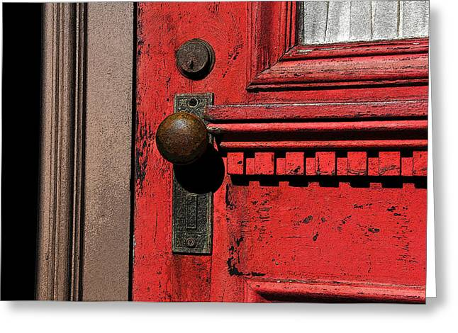 The Old Red Door Greeting Card by David Lee Thompson