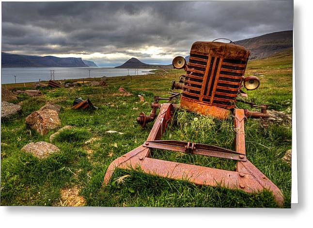The Old Rust Tractor Greeting Card by Arnar B Gudjonsson