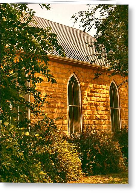 The Old Stone Church Greeting Card by Lynne and Don Wright