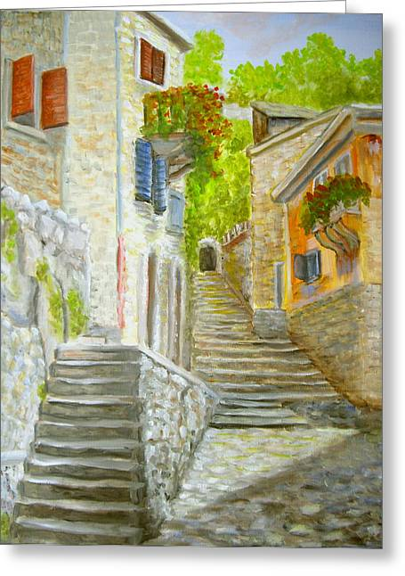 Greeting Card featuring the painting The Old Town by Luczay