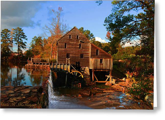 The Old Yates Mill Greeting Card by Sheila Kay McIntyre