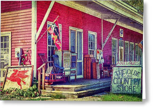The Olde Country Store Greeting Card by Kathy Jennings