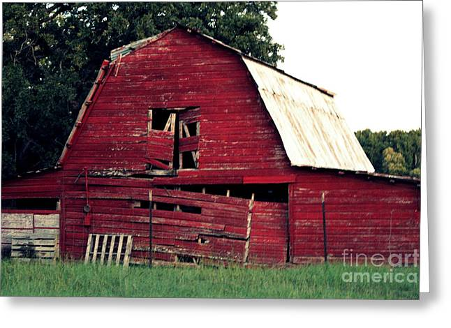 Greeting Card featuring the photograph The Ole Red Barn by Kathy  White