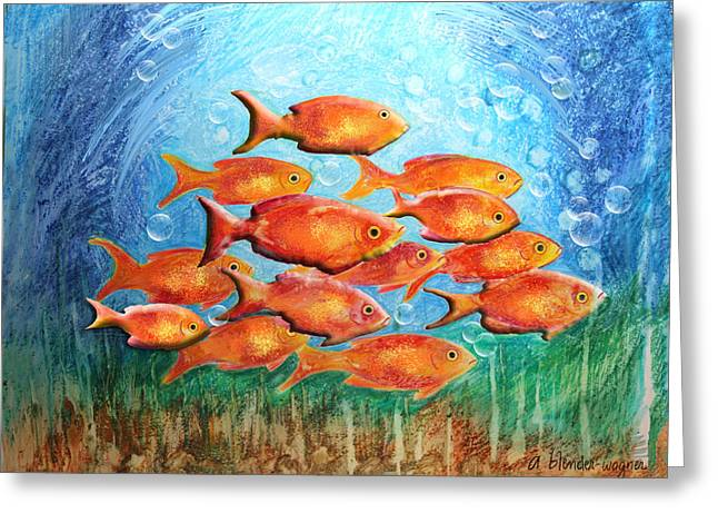 The Orange Brigade Greeting Card by Arline Wagner