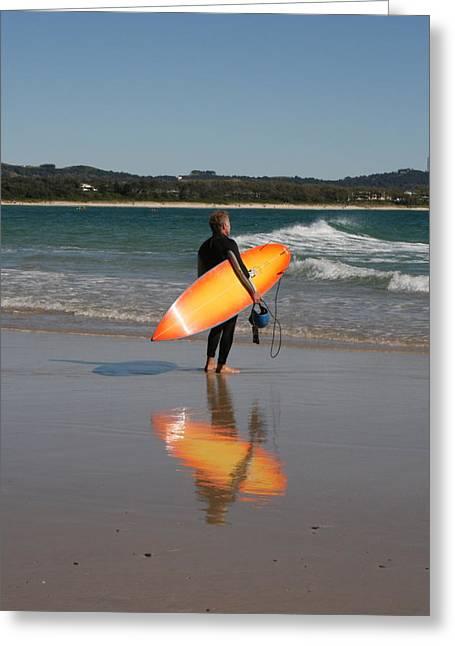 The Orange Surfboard Greeting Card by Jan Lawnikanis
