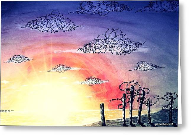 The Pain Of Sky That Will Never Be Calm Greeting Card