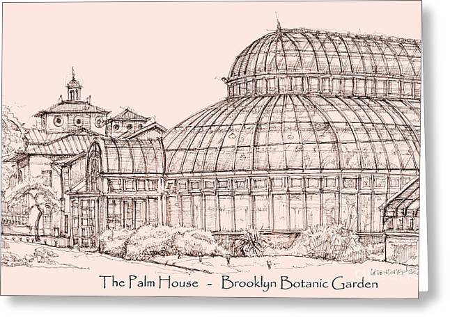 The Palm House In Pink Greeting Card by Adendorff Design