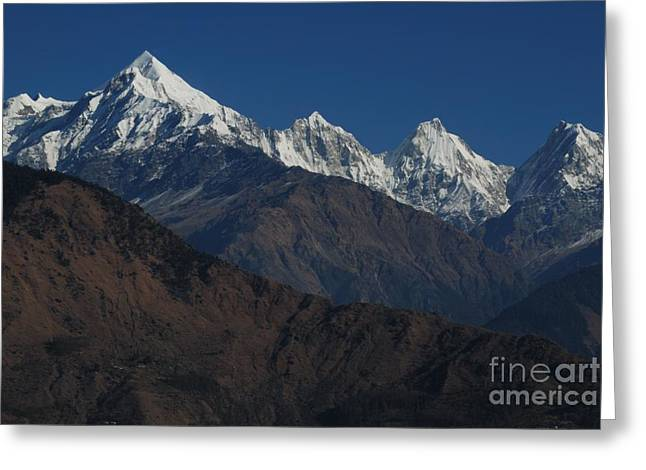 Greeting Card featuring the photograph The Panchchuli Range by Fotosas Photography