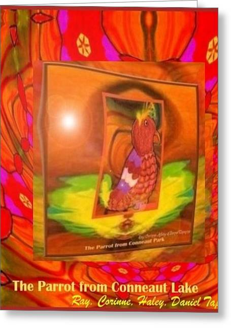 Greeting Card featuring the mixed media The Parrot From Conneaut Lake Memories by Ray Tapajna
