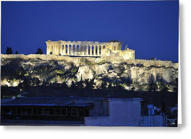 The Parthenon At Night Greeting Card by MaryJane Armstrong