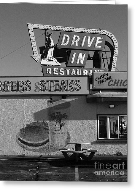 The Penguin Drive-in Greeting Card by David Bearden