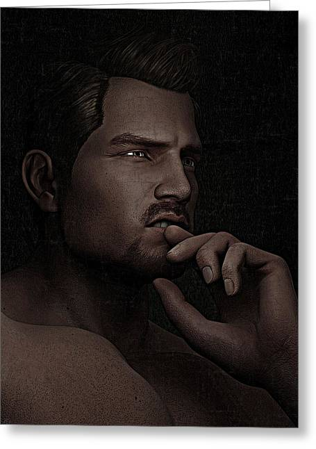 Greeting Card featuring the digital art The Pensive Man - Cracked Colour by Maynard Ellis