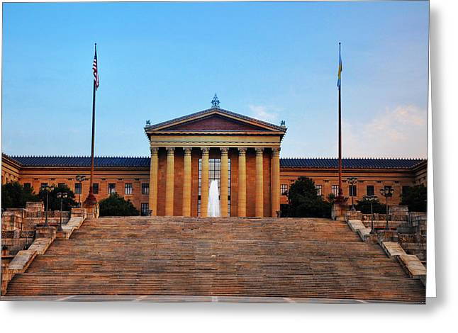The Philadelphia Museum Of Art Front View Greeting Card by Bill Cannon