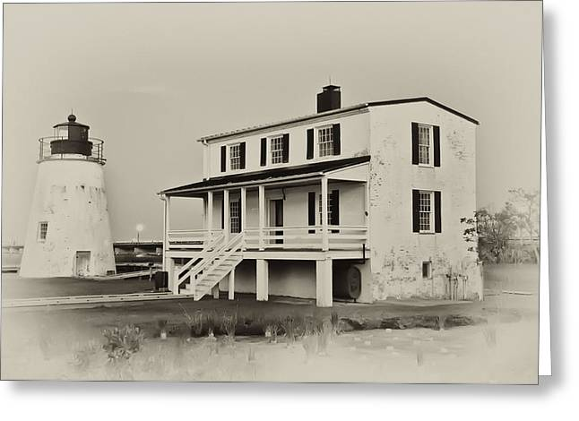 The Piney Point Lighthouse In Sepia Greeting Card by Bill Cannon