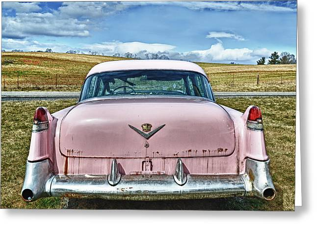 The Pink Cadillac Greeting Card by Kathy Jennings