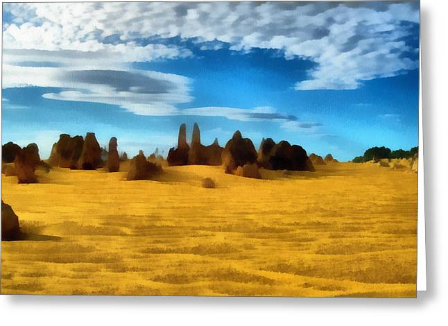 Greeting Card featuring the digital art The Pinnacles Nambung National Park by Roberto Gagliardi