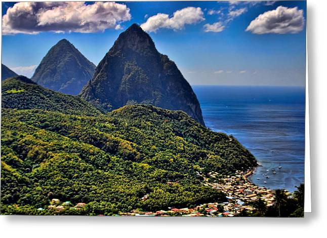 The Pitons Of St Lucia Greeting Card by J R Baldini M Photog Cr