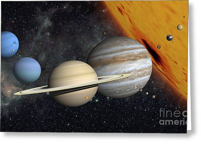 The Planets And Larger Moons To Scale Greeting Card by Ron Miller