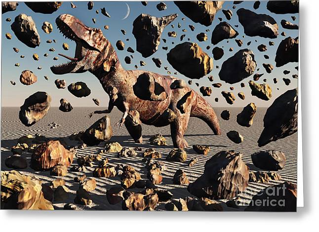 The Powerful T-rex Shatters Its Rock Greeting Card