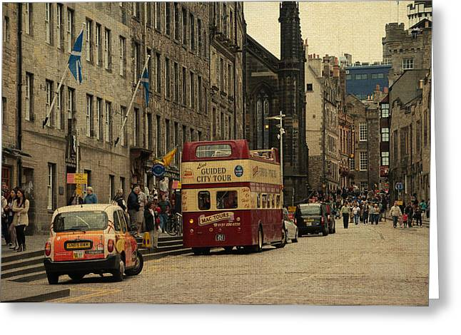 The Princes Street In Edinburgh. Scotland Greeting Card by Jenny Rainbow