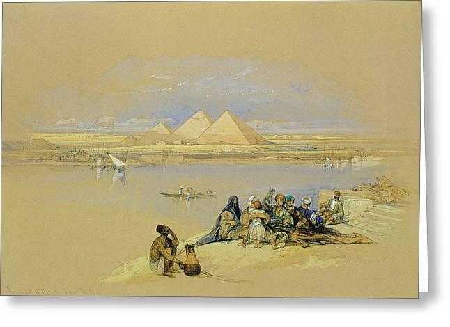 The Pyramids At Giza Near Cairo Greeting Card by David Roberts