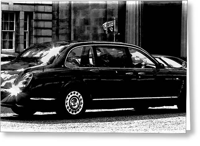 The Queen In Her Bentley Greeting Card by Carrie OBrien Sibley