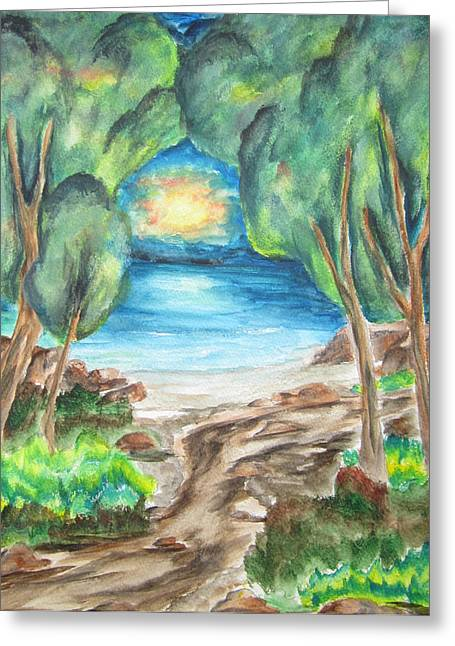 Greeting Card featuring the painting The Quiet Ocean -wcs by Cheryl Pettigrew