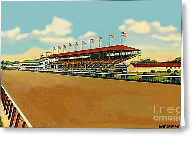 The Racetrack And Grandstand At Havre De Grace Md In 1941 Greeting Card