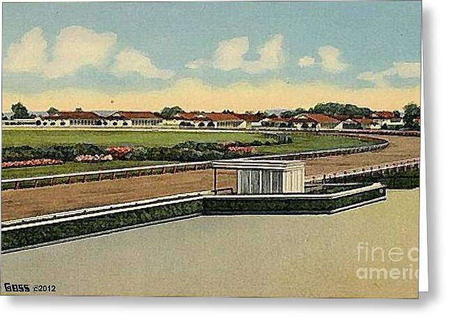 The Racetrack Stables And Judges' Stand At Havre De Grace Md 1941 Greeting Card