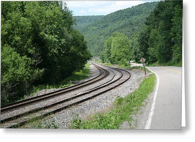 The Rail And The Road Greeting Card
