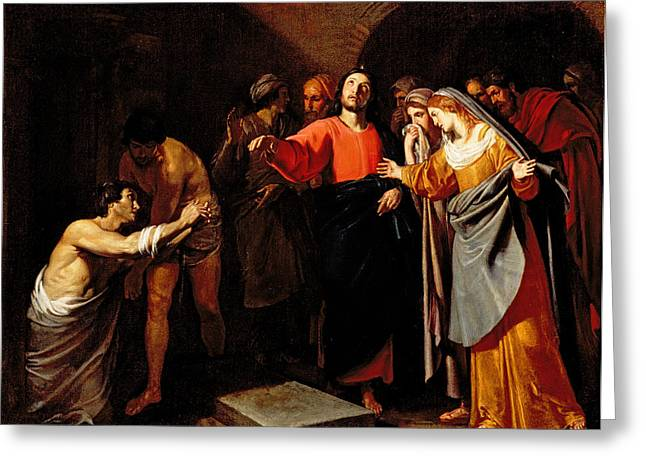 The Raising Of Lazarus Greeting Card by Andrea Vacco