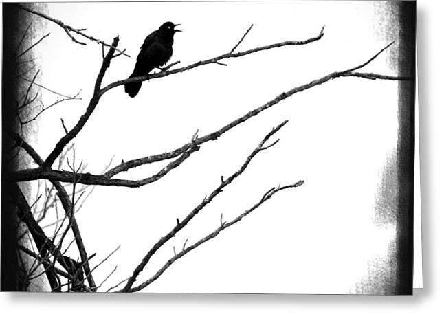 The Raven Greeting Card by Penny Hunt